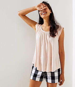 LOFT Petite Shirred Tie Back Tee
