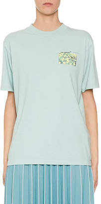 Off-White Floral Print Graphic Jersey T-Shirt
