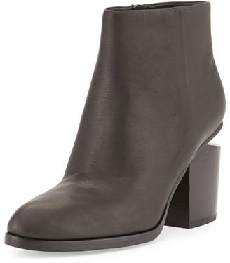 Alexander Wang Gabi Tilt-Heel Leather Boot, Black/Rhodium