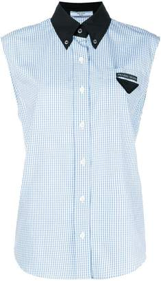 Prada sleeveless check shirt