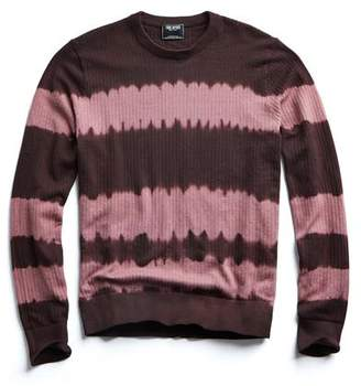 Todd Snyder Cotton Tie Dye Crewneck in Burgundy