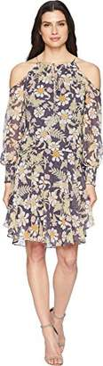 Donna Morgan Women's 3/4 Sleeve Cold Shoulder Chiffon Dress with Tie Neck