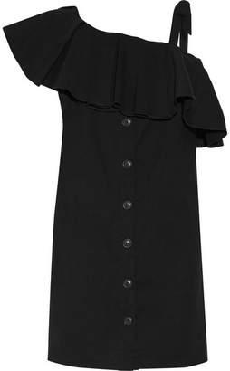SEA - Cold-shoulder Ruffled Poplin Mini Dress - Black $425 thestylecure.com