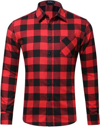 XI PENG Men's Winter Warm Button Down Plaid Checked Long Sleeve Flannel Shirts