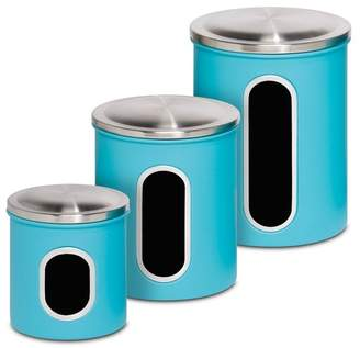 Honey-Can-Do Blue Metal Storage Canister - Set of 3