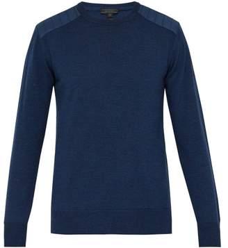 Belstaff Kerrigan Quilted Shoulder Wool Sweater - Mens - Blue