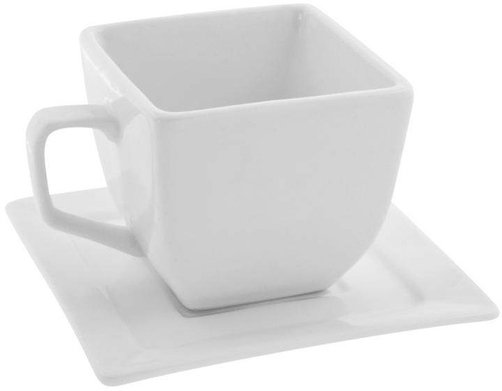 Ten Strawberry Street 10 Strawberry Street Whittier Set of 4 Square Cup/Saucer - White