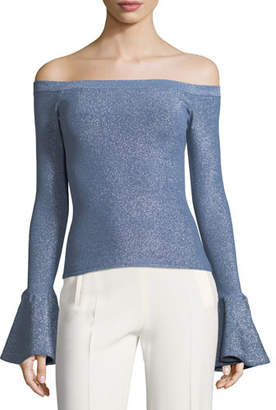 Caroline Constas Off-the-Shoulder Bell-Cuffs Fitted Metallic Sweater