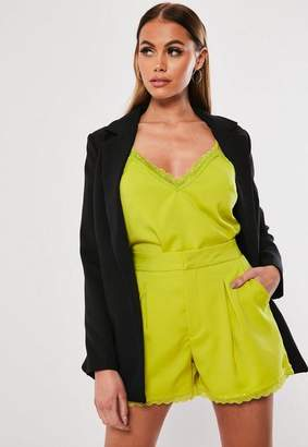 Missguided Lime Co Ord Lace Trim Tailored Shorts