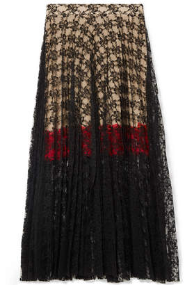 Christopher Kane Pleated Lace Midi Skirt - Black