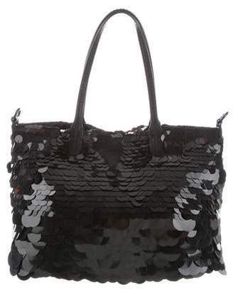 Valentino Leather-Trimmed Sequin Satchel