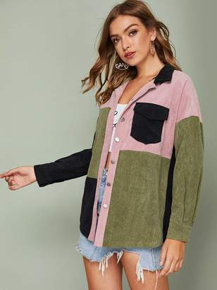 Shein Flap Pocket Front Curved Hem Colorblock Cord Trucker Coat