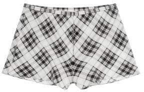 Marc Jacobs Women's Redux Grunge Plaid Washed Silk Shorts - Green Multi - Size 2