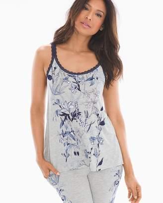 Cool Nights Lace Trim Swing Pajama Cami Fair Garden Blue