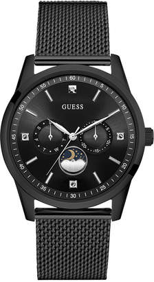 GUESS Men Traditional Moonphase Black Stainless Steel Mesh Bracelet Watch 42mm U0869G1