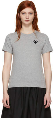 Comme des Garcons Grey and Black Heart T-Shirt