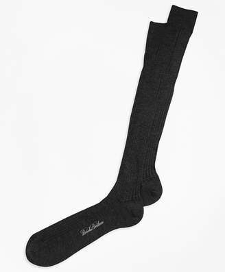Brooks Brothers Merino Wool Ribbed Over-the-Calf Socks