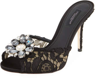 Dolce & Gabbana Jeweled Lace Slide Sandal, Black