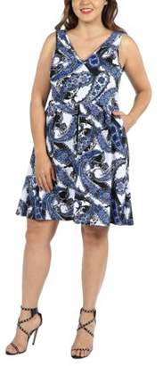 24/7 Comfort Apparel 24Seven Comfort Apparel Emi Blue and White Plus Size Dress