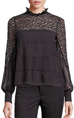 Nanette Lepore Jezebel Silk & Lace Blouse $378 thestylecure.com