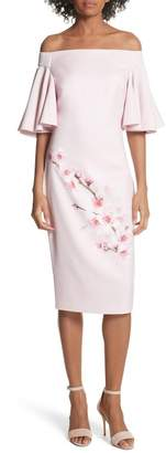Ted Baker Soft Blossom Off the Shoulder Sheath Dress