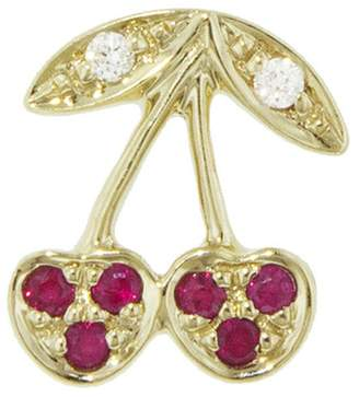 Sydney Evan Pavé Ruby Cherry Single Stud Earring - Right
