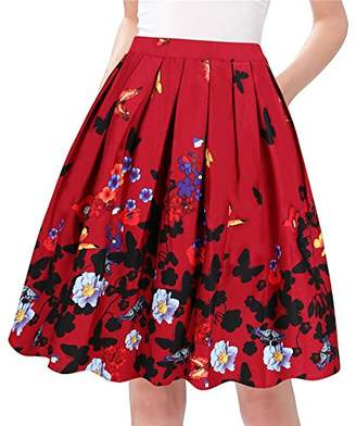 Taydey A-Line Pleated Vintage Skirts for Women (XL