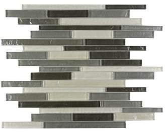 Abolos SAMPLE - Geo Random Sized Glass Mosaic Tile in Blue Gray