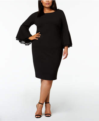 Calvin Klein Plus-Size Lace-Trim Bell-Sleeve Dress