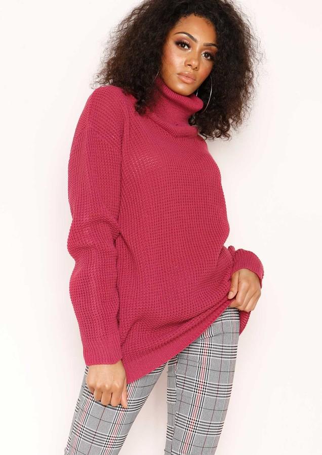 Missyempire Harper Raspberry Knit Oversized Jumper