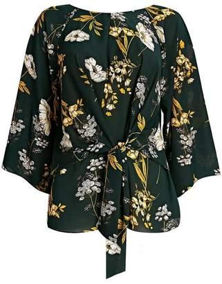 Wallis Green Floral Print Tie Front Blouse