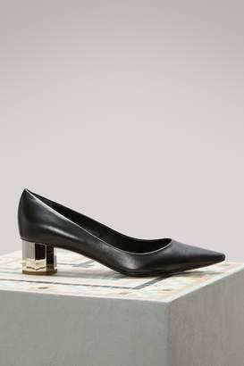 Proenza Schouler Silver Mid-Heel Leather Pumps