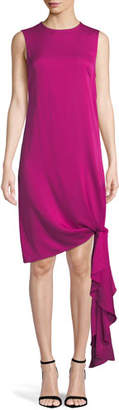 Milly Chiara Stretch-Silk Dress w/ Asymmetric Tied Hem