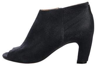 Maison Margiela Distressed Leather Peep-Toe Ankle Booties