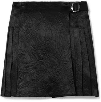 Opening Ceremony Pleated Crinkled-satin Mini Skirt - Black