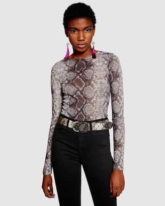 Topshop Snakeskin Print Bodysuit