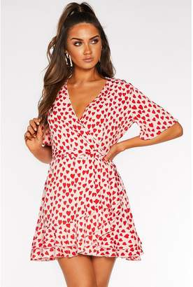 Quiz Sam Faiers Pink and Red Heart Print Wrap Dress
