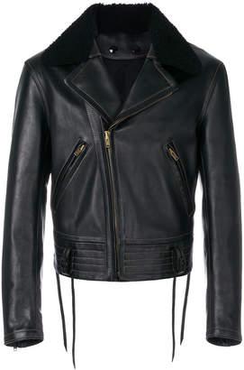 MM6 MAISON MARGIELA fur collar biker jacket