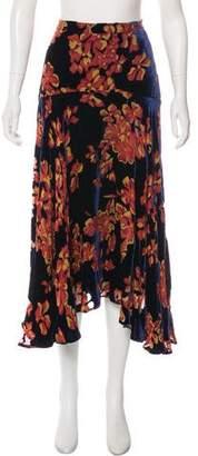 Saloni Velvet Knee-Length Skirt