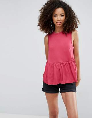 Asos Design Sleeveless Top with Ruffle Hem