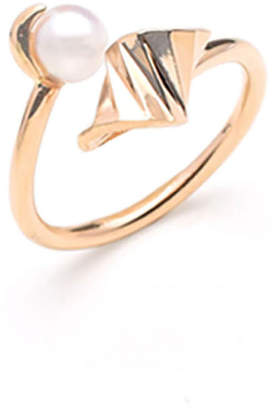 S/H Koh 14k Gold & Pearl Onda Wave Open Ring