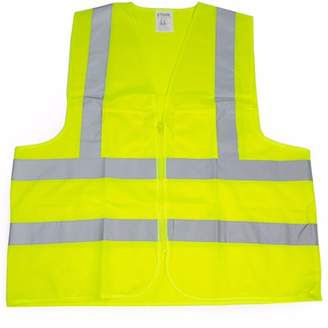 STKUSA 2 Pockets High Visibility Neon Green Front Zipper Safety Vest with Reflective Strips ANSI ISEA, XLarge