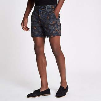 River Island Mens Blue paisley print slim fit chino shorts