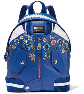 Moschino - Embroidered Leather Backpack - Azure $1,595 thestylecure.com