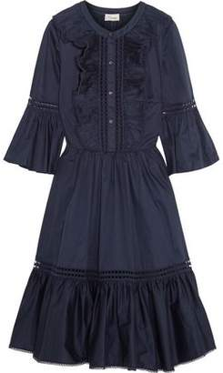 Temperley London Morganne Lace-Trimmed Ruffled Cotton-Poplin Dress