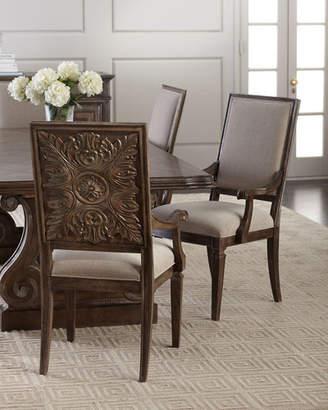 Hooker Furniture Woodlands Carved Back Arm Chairs, Set of 2