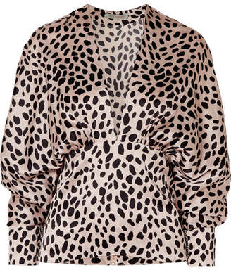 Silvia Tcherassi - Emily Leopard-print Silk-blend Satin Blouse - Pastel pink