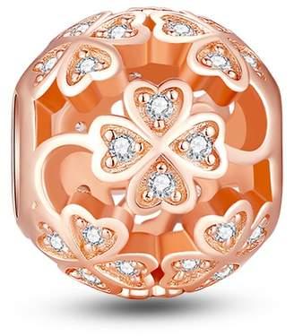 Pandora Glamulet Jewelry Women's 925 Sterling Silver Four Leaf Clover Rose Gold Charm Fits Bracelet