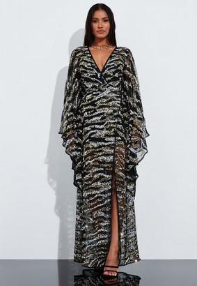 Missguided Black Animal Print Embellished Kimono Sleeve Maxi Dress