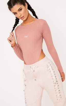 PrettyLittleThing Doll Slogan Rose Jersey Rib High Rise Thong Bodysuit